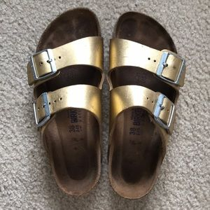 Shiny Gold Two Strap Birkenstocks Size 8